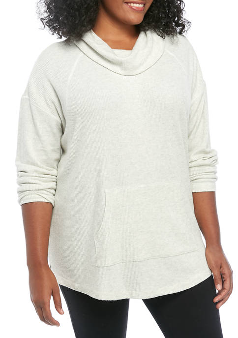 New Directions® Plus Size Long Sleeve Cowl Neck