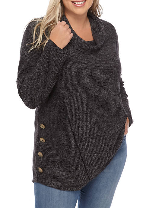 New Directions® Plus Size Cowl Neck Side Button