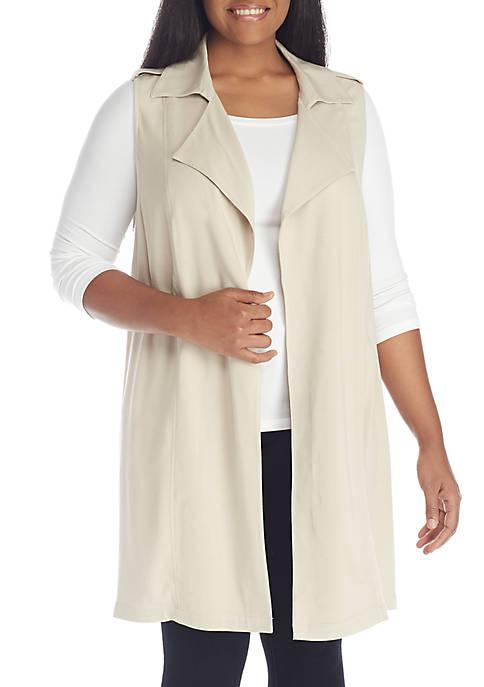 Plus Size Collared Vest