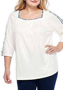 Plus Size Embroidered Square Neck Top
