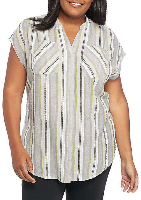 New Directions® Plus Size Novelty Stripe Tunic