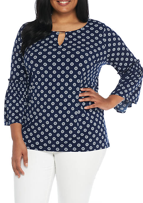 New Directions® Plus Size Smock Sleeve Print Tunic