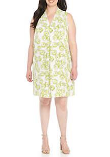 Plus Size Inverted Pleat Print Shift Dress