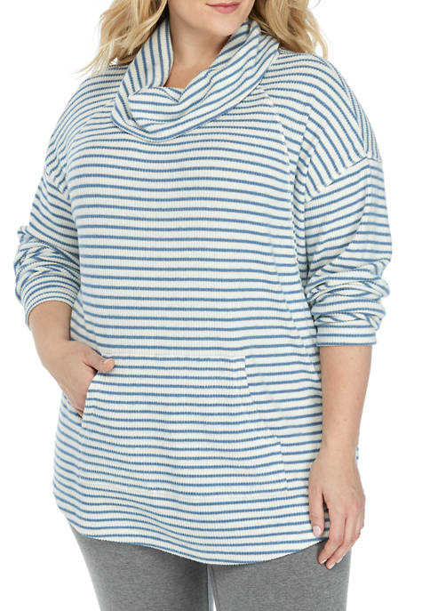 Plus Size Cowl Neck Ribbed Hacci Striped Sweater