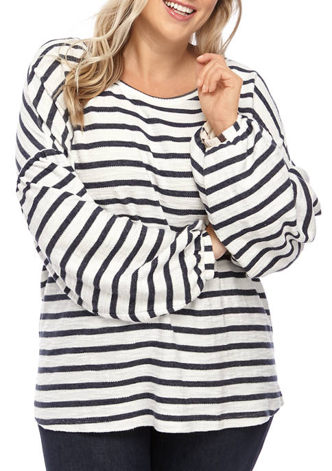 New Directions® Plus Size Jacquard Bubble Sleeve Shirt