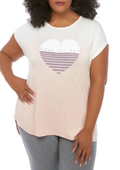 Plus Size Short Sleeve Knit Slow Graphic T-Shirt