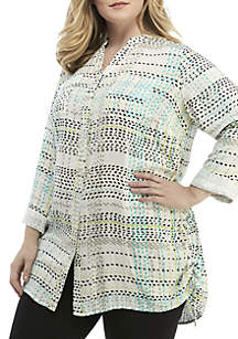 Plus Size 3/4 Sleeve Side Cinch Print Top