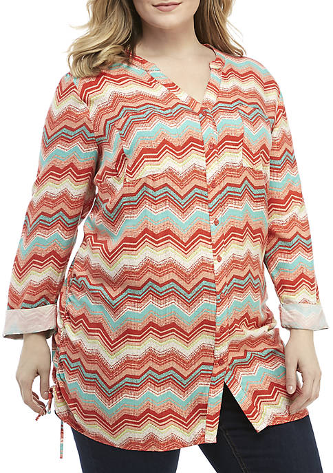 New Directions® Plus Size Essential 3/4 Sleeve Cinched