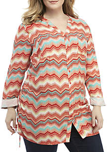 Plus Size Essential 3/4 Sleeve Cinched Side Tunic