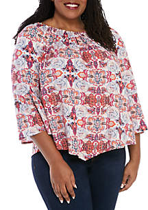 New Directions® Plus Size Keyhole Peasant Woven Top