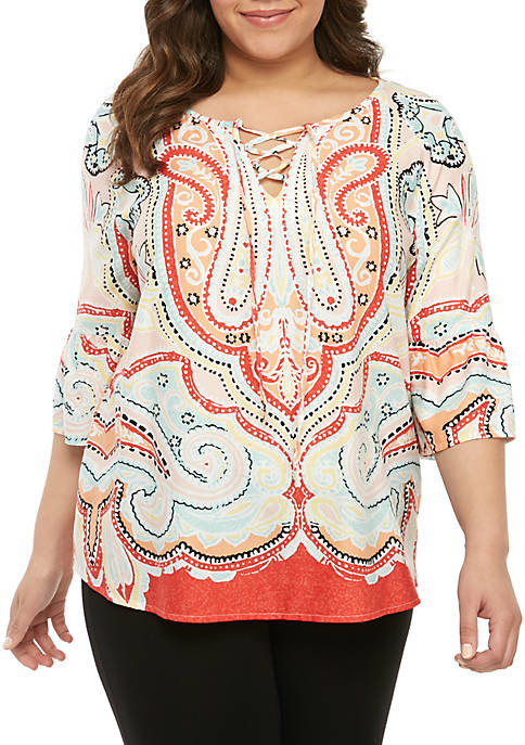 Plus Size 3/4 Sleeve Floral Lace Up Top