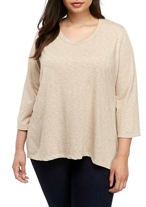 New Directions® Plus Size 3/4 Sleeve Scoop Neck