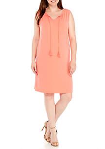 Plus Size Tasseled Sleeveless Dress