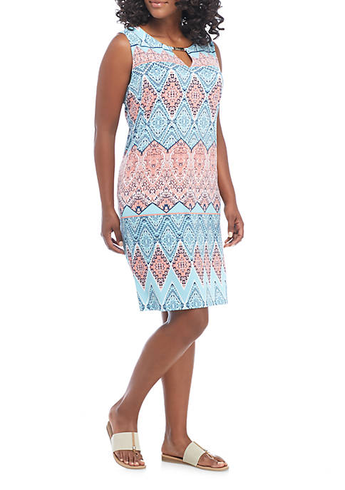 New Directions® Plus Size Tie Neck Knit Dress
