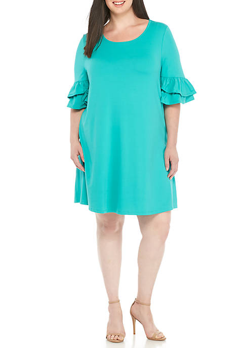New Directions® Plus Size Cap Sleeve Knit Dress