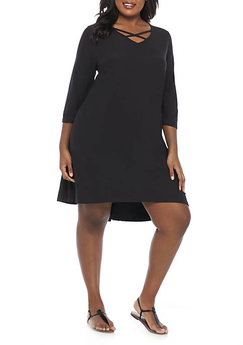 New Directions® Plus Size Crisscross Neck Dress