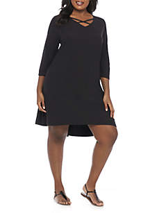 Plus Size Crisscross Neck Dress