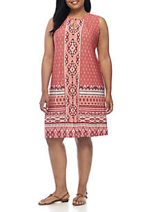 Plus Size Suede Neckline Dress