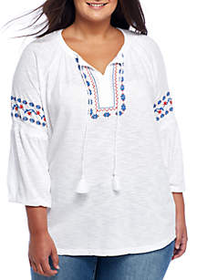 Plus Size Short Sleeve Embroidered Top with Neck Tie