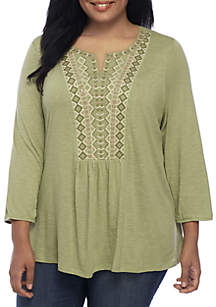 Plus Size Embroidered Notch Neck Peasant Top