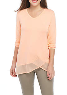 Plus Size Knit/Woven Double Layer Henley Top