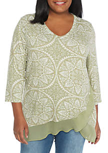 Plus Size Double Layer Henley Knit Top