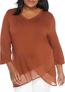Plus Size Double Layer Knit/Woven Top