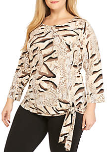Plus Size Three-Quarter Sleeve Side Tie Top