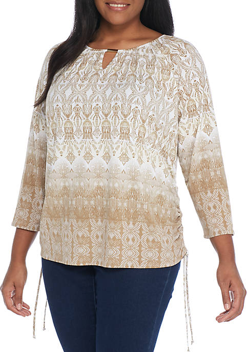 New Directions® Plus Size Raglan Cinch Side Top