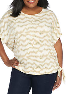 Plus Size Draped Side Tie Top