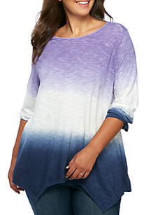 Plus Size Shark-Bite Hem Top