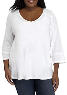 Plus Size Three-Quarter Sleeve V-Neck Top