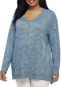 Plus Size Long Sleeve V-Neck Rib Hem Top