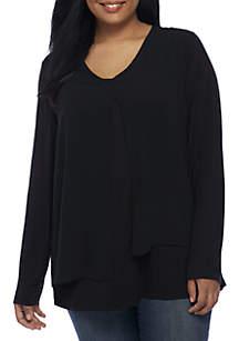 Knit Woven Asymmetrical Top