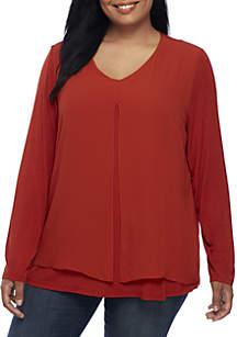 Plus Size Knit Woven Asymmetrical Top