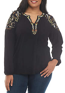 Plus Size Embroidery Shoulder Peasant Top