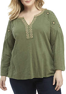 Plus Size Embroidered Shoulder Peasant Top