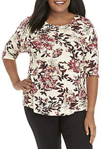 New Directions® Plus Size 3/4 Sleeve Knit Top