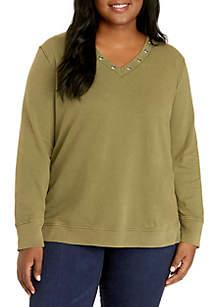 Plus Size Grommet Neck Sweatshirt