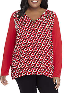 Plus Size Zip Front Knit and Woven Top