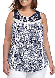 New Directions® Plus Size Sleeveless Tie Front Top