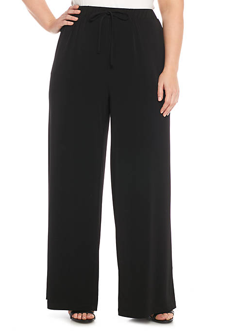 New Directions® Plus Size Tie-Waisted Wide Leg Pants