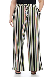 Plus Size Tie-Waisted Wide Leg Pant