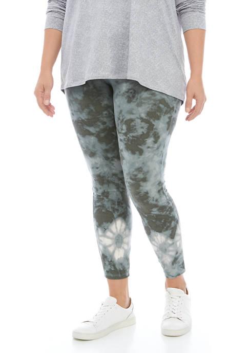 Plus Size Tie Dye Printed Leggings