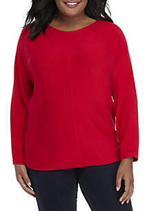Plus Size Long Dolman Sleeve Solid Top