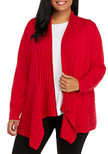 Plus Size Long Sleeve Ribbed Solid Cardigan