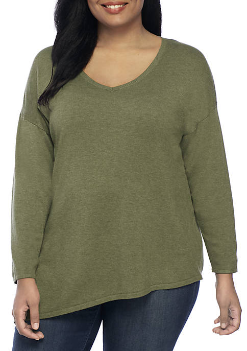 New Directions® Long Sleeve Asymmetrical Heather Pullover