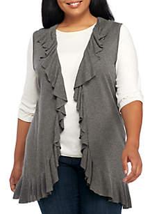 Plus Size Sleeveless Ruffle Front Vest