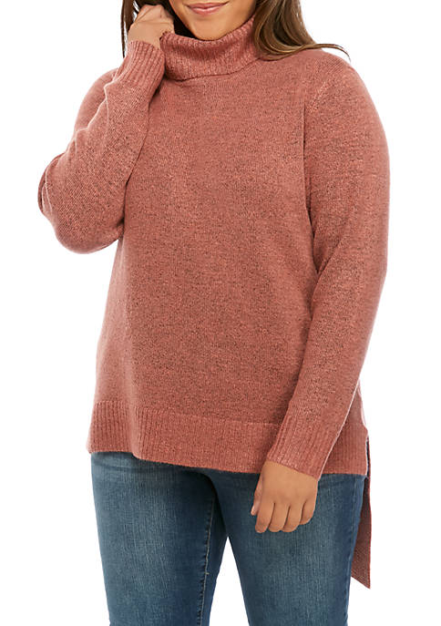 New Directions® Plus Size Asymmetric Turtleneck Solid Sweater
