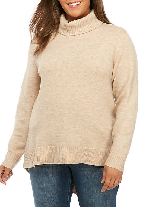 Plus Size Asymmetric Turtleneck Heather Sweater